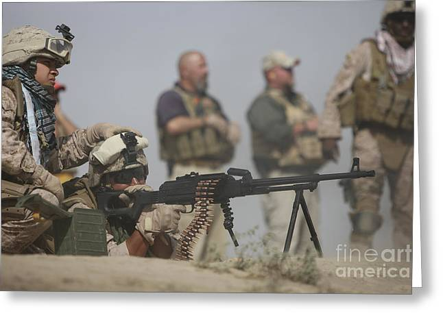 Pk Greeting Cards - U.s. Marine Firing A Pk 7.62mm Machine Greeting Card by Terry Moore