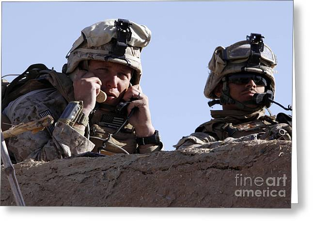 Squinting Greeting Cards - U.s. Marine Gives Directions To Units Greeting Card by Stocktrek Images