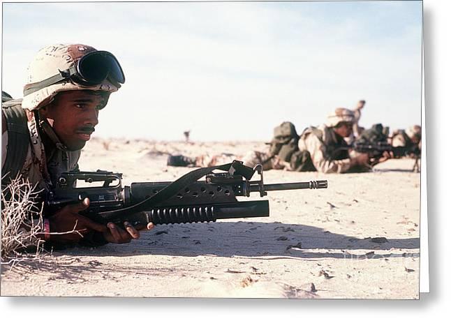 U.s. Marine Guards The Camp Perimeter Greeting Card by Stocktrek Images