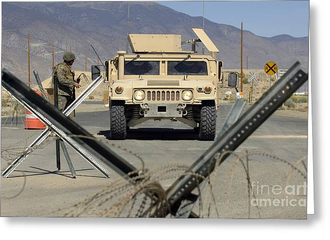Roadblock Greeting Cards - U.s. Marine Guards The Gate Greeting Card by Stocktrek Images