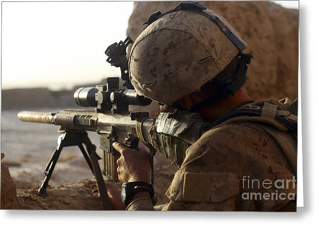 Sangin Greeting Cards - U.s. Marine Looks Through The Scope Greeting Card by Stocktrek Images