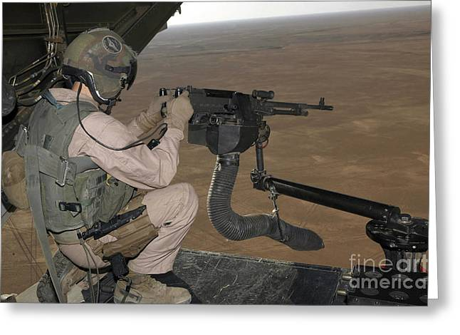 Iraq Photographs Greeting Cards - U.s. Marine Test Firing An M240 Heavy Greeting Card by Stocktrek Images