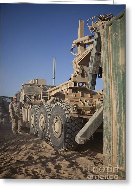 Helmand Province Greeting Cards - U.s. Marine Uses A Logistics Vehicle Greeting Card by Stocktrek Images