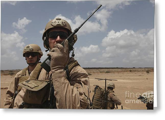 Deployment Greeting Cards - U.s. Marine Uses A Radio In Djibouti Greeting Card by Stocktrek Images