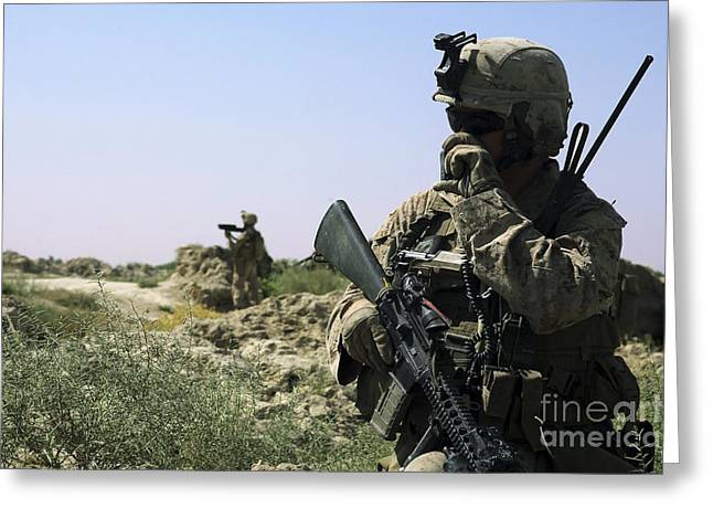 On The Phone Greeting Cards - U.s. Marine Uses A Radio Greeting Card by Stocktrek Images