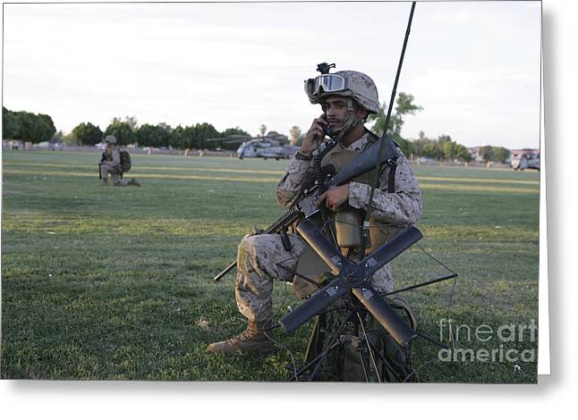 Field Telephone Greeting Cards - U.s. Marine Utilizes A Satellite Radio Greeting Card by Stocktrek Images