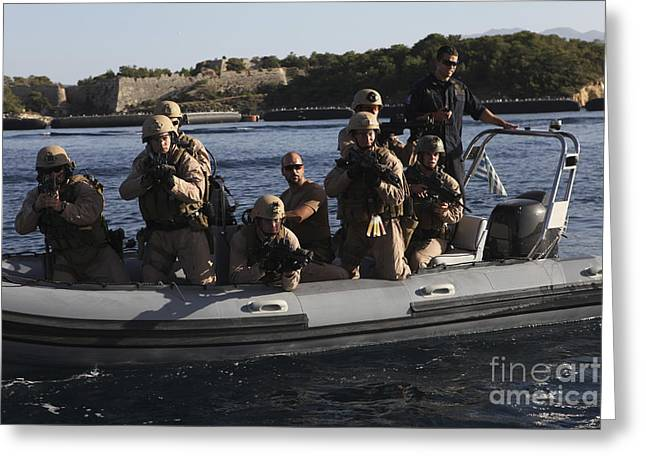 Deployment Greeting Cards - U.s. Marines Approach A Suspect Vessel Greeting Card by Stocktrek Images