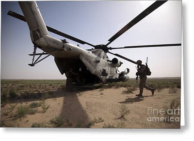 Operation Enduring Freedom Greeting Cards - U.s. Marines Board A Ch-53d Sea Greeting Card by Stocktrek Images