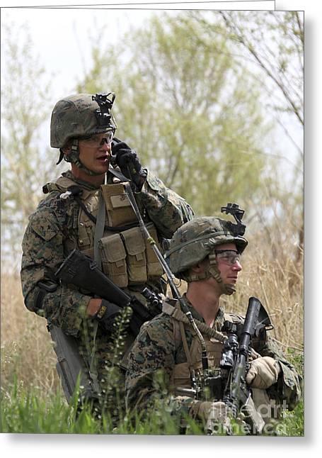 Field Telephone Greeting Cards - U.s. Marines Communicate Greeting Card by Stocktrek Images