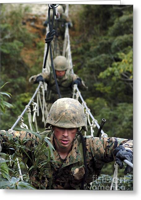 Jungle Warfare Greeting Cards - U.s. Marines Cross A Three-strand Greeting Card by Stocktrek Images
