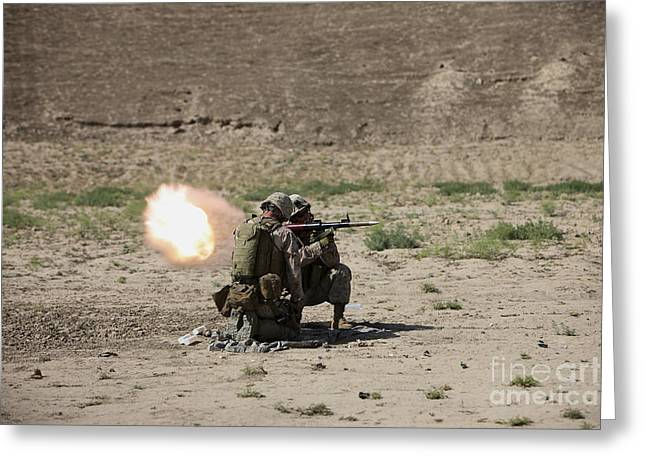Shoulder-launched Greeting Cards - U.s. Marines Fire A Rocket-propelled Greeting Card by Terry Moore