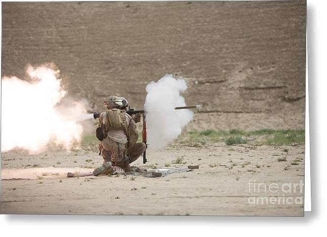 Shoulder-launched Greeting Cards - U.s. Marines Fire A Rpg-7 Grenade Greeting Card by Terry Moore