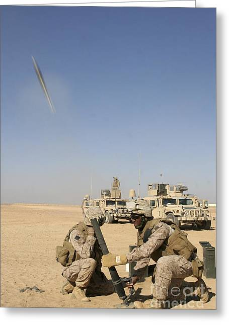 Bastion Greeting Cards - U.s. Marines Firing A 60-mm Mortar Greeting Card by Stocktrek Images