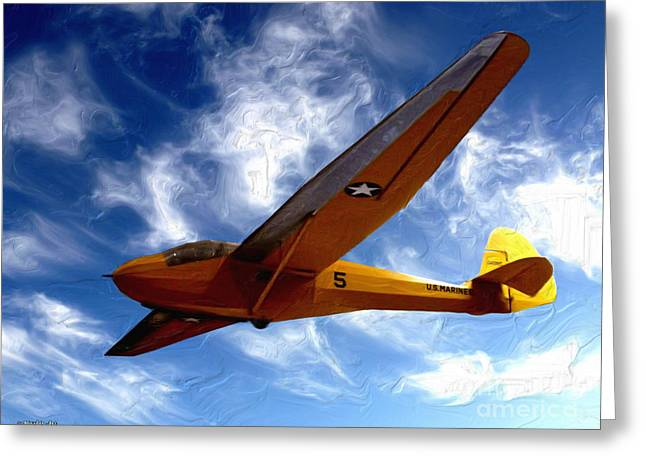 Military Airplanes Greeting Cards - U.S. Marines Glider Greeting Card by Methune Hively