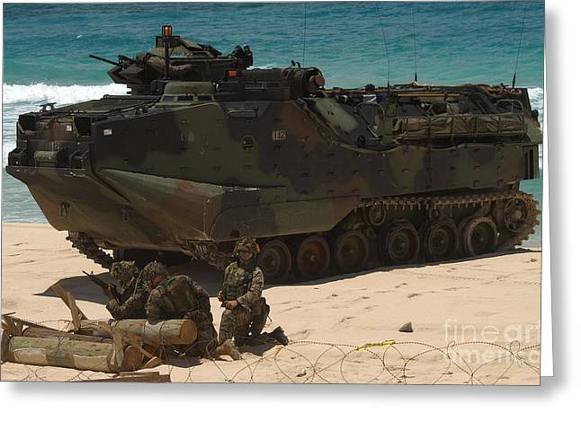 U.s. Marines Guard Their Amphibious Greeting Card by Stocktrek Images
