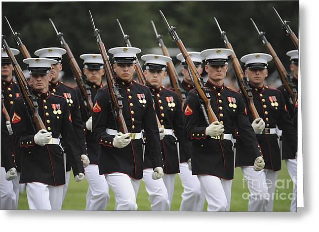 U.s. Marines March By During The Pass Greeting Card by Stocktrek Images