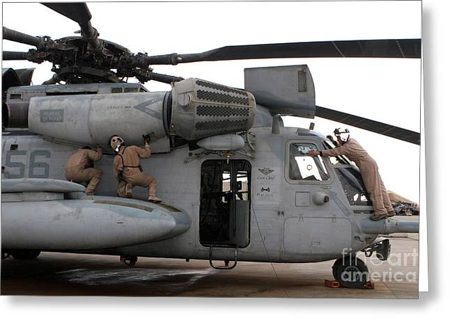 Middle Ground Greeting Cards - U.s. Marines Perform Preflight Checks Greeting Card by Stocktrek Images