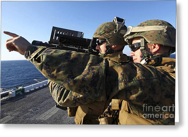 Shoulder-launched Greeting Cards - U.s. Marines Practice Firing Greeting Card by Stocktrek Images