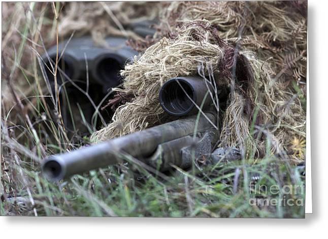 U.s. Marines Practice Stalking Greeting Card by Stocktrek Images
