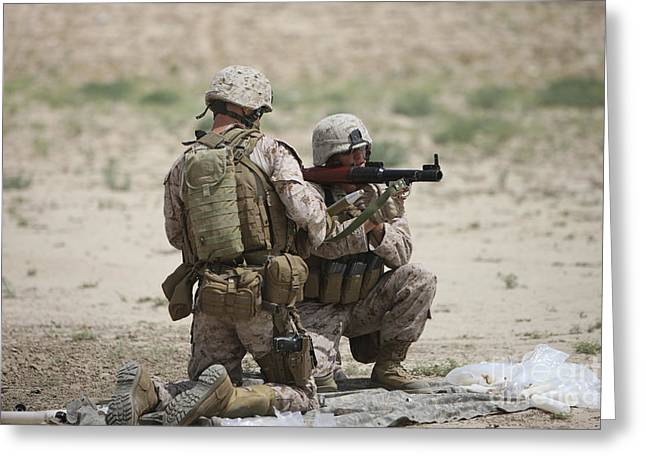 Shoulder-launched Greeting Cards - U.s. Marines Prepare A Fragmentation Greeting Card by Terry Moore
