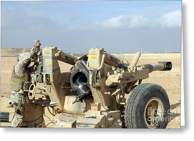 Baghdad Greeting Cards - U.s. Marines Prepare To Fire A Howitzer Greeting Card by Stocktrek Images