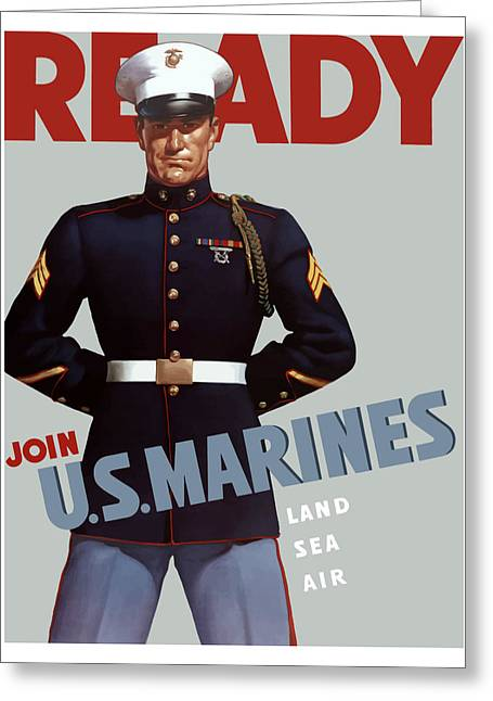 Ww2 Greeting Cards - US Marines Ready Greeting Card by War Is Hell Store