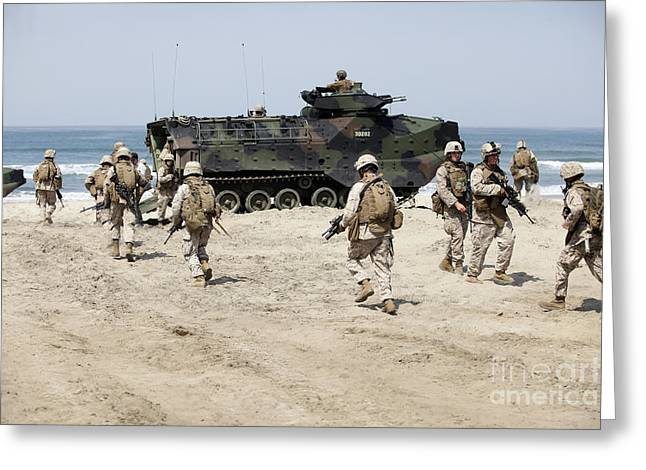 Tank Battalions Greeting Cards - U.s. Marines Return To Their Amphibious Greeting Card by Stocktrek Images