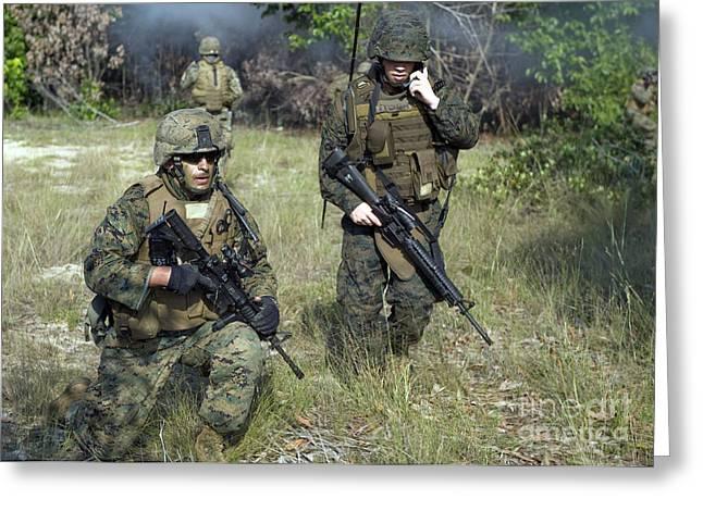 Field Telephone Greeting Cards - U.s. Marines Secure A Perimeter Greeting Card by Stocktrek Images