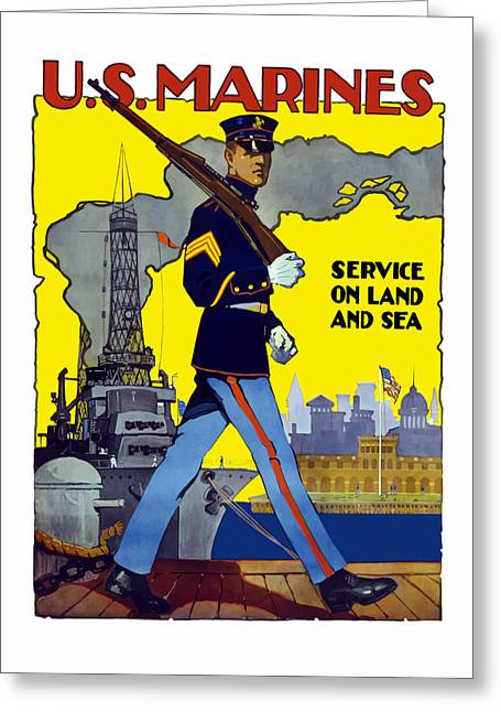 Vets Greeting Cards - U.S. Marines Service On Land And Sea Greeting Card by War Is Hell Store