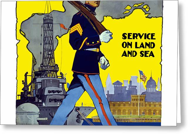 U.S. Marines Service On Land And Sea Greeting Card by War Is Hell Store