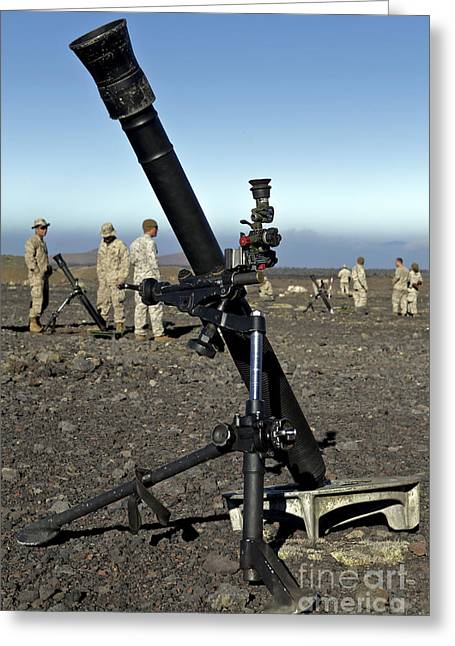 Muzzleloader Greeting Cards - U.s. Marines Set Up M252 81mm Mortar Greeting Card by Stocktrek Images