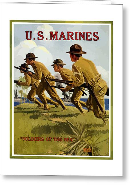 Vets Greeting Cards - US Marines Soldiers Of The Sea Greeting Card by War Is Hell Store