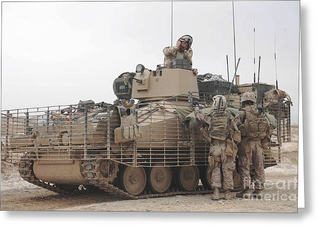 U.s. Marines Talk With A British Greeting Card by Stocktrek Images