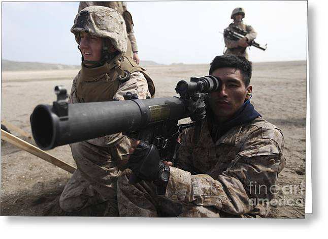 Shoulder-launched Greeting Cards - U.s. Marines Teach Peruvian Marines How Greeting Card by Stocktrek Images