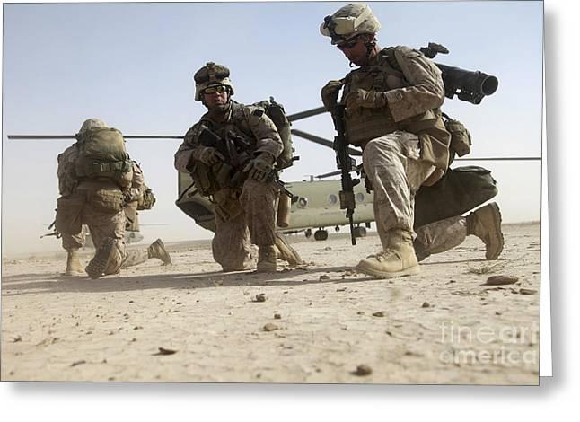U.s. Marines Unloading Greeting Card by Stocktrek Images