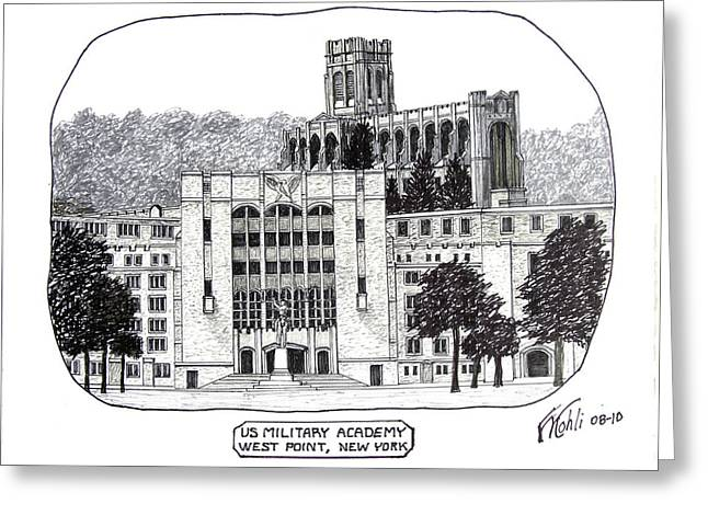 College Campus Buildings Drawings Greeting Cards - US Military Academy at West Point NY Greeting Card by Frederic Kohli