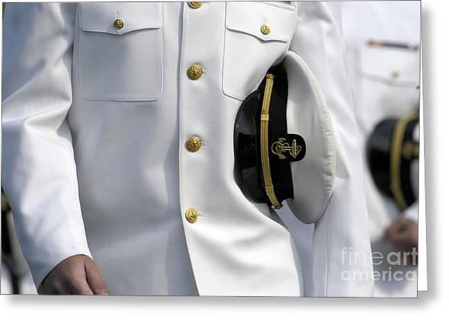 U.s. Naval Academy Midshipman In Dress Greeting Card by Stocktrek Images
