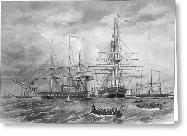 Ship Digital Art Greeting Cards - U.S. Naval Fleet During The Civil War Greeting Card by War Is Hell Store