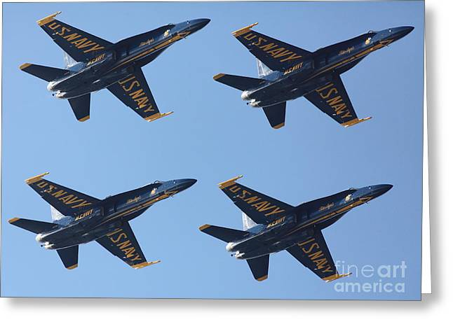 Military Airplanes Greeting Cards - US Navy Blue Angels - 5D18965 Greeting Card by Wingsdomain Art and Photography