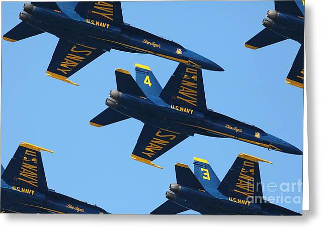 Military Airplanes Greeting Cards - US Navy Blue Angels - 5D18966 Greeting Card by Wingsdomain Art and Photography