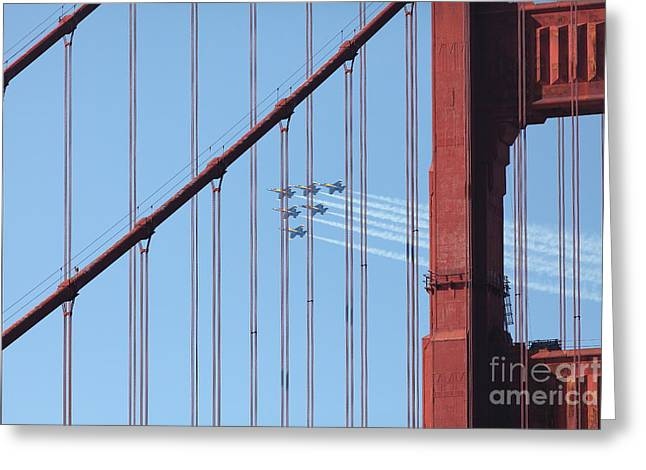 Frisco Pier Greeting Cards - US Navy Blue Angels Beyond The San Francisco Golden Gate Bridge - 5D18956 Greeting Card by Wingsdomain Art and Photography