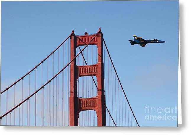 F-18 Greeting Cards - US Navy Blue Angels Crossing The San Francisco Golden Gate Bridge - 5D18943 Greeting Card by Wingsdomain Art and Photography