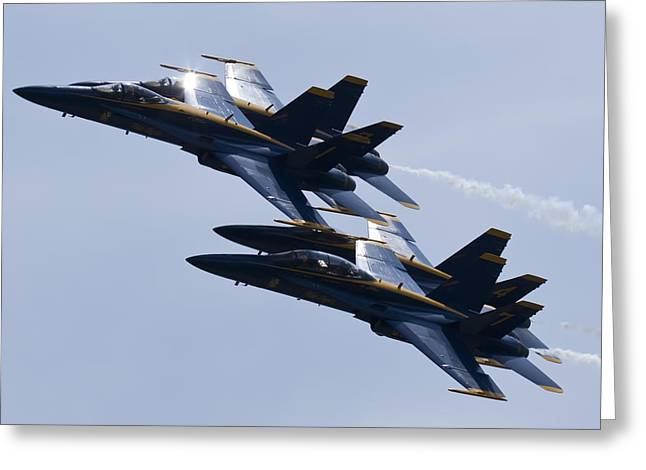 F-18 Greeting Cards - US Navy Blue Angels In Formation Greeting Card by Dustin K Ryan