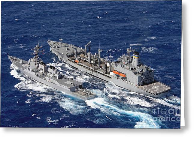 Moving Colors Greeting Cards - U.s. Navy Destroyer Uss Decatur Omes Greeting Card by Stocktrek Images