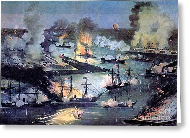 Confederate Flag Greeting Cards - U.s. Navy Destroys Rebel Gunboats Greeting Card by Photo Researchers