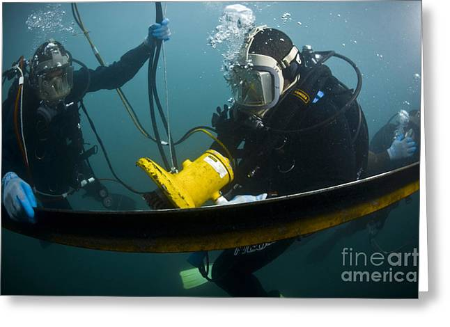 Scuba Diving Greeting Cards - U.s. Navy Diver Instructs A Barbados Greeting Card by Stocktrek Images