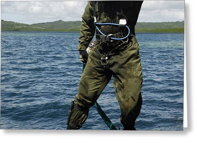 U.s. Navy Diver Jumps Off A Dive Greeting Card by Stocktrek Images