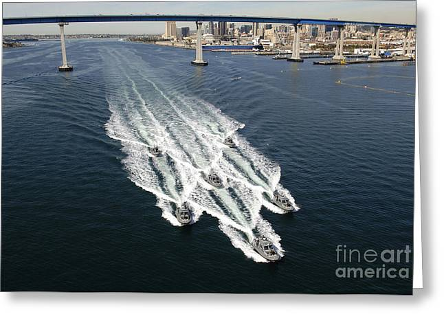 Convoy Greeting Cards - U.s. Navy Patrol Boats Conduct Greeting Card by Stocktrek Images