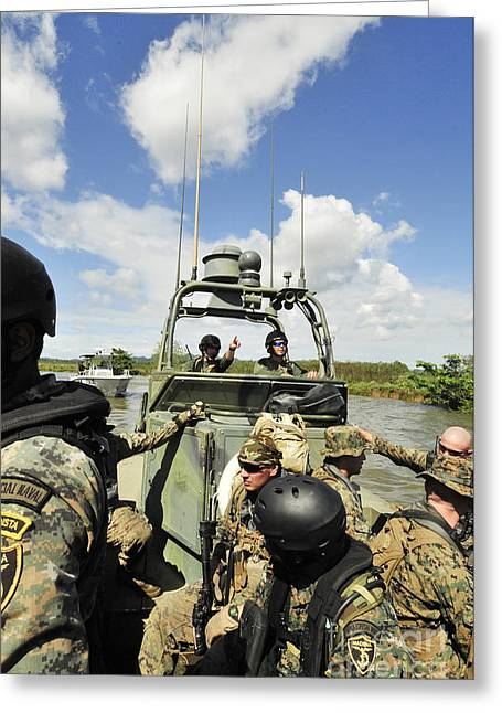 Cooperation Greeting Cards - U.s. Navy Riverine Squadron Greeting Card by Stocktrek Images