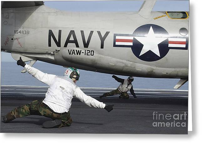 Gestures Greeting Cards - U.s. Navy Sailors Give The Thumbs Greeting Card by Stocktrek Images